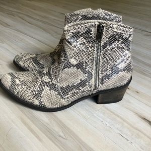 COCONUTS BY MATISSE: firefly snakeskin ankle boots